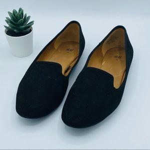 H&M || Black Slip-on Flats; Smoking Loafer; Size 8